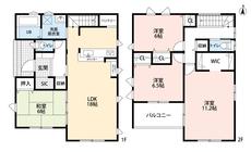 パントリーやシューズインクローゼットなど収納充実^^全居室6帖以上^^主寝室はゆったり11.2帖。