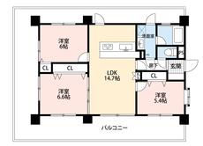全居室がバルコニーに面した間取りです。和室を含む3LDKで、お子様のお部屋や来客用のお部屋もしっかり確保できます。