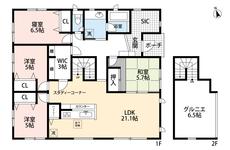 LDKと和室を合わせると、26帖以上の大空間になります^^生活がワンフロアで完結する平屋なのに、グルニエまでついた贅沢なつくり^^