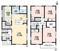 珍しい5LDKの間取りです。和室のご用意もあり、2階には4部屋を確保^^お子様や同居のご世帯にもオススメの物件です^^