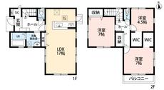 3LDKとウォークインクローゼットでゆとりのある暮らしが実現。2階は洋室が3部屋あるので、お子様が大きくなっても安心ですね。