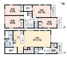 SICやW.I.C、パントリーなど収納が豊富^^水回りが集中した場所に納戸を設けており、様々な生活用品を収納する事ができ大変便利。2階には洋室を4部屋ご用意しているので、お子様が多いご家庭も安心です。
