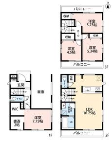 1階洋室にはウォークインクローゼットや書斎がついています^^ 3階は洋室が3部屋あるので、お子様が大きくなっても安心ですね。