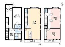 リビングは28帖と広々^^13帖の洋室を2部屋にし3LDKへ変更可能です^^ インナーガレージも魅力的^^