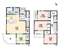 4LDK、ファミリークローゼットでゆとりのある暮らしが実現。リビングは隣接の和室を合わせると20帖以上の開放感あふれる空間です。 2階は洋室が3部屋あるので、お子様が大きくなっても安心ですね。