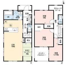 3LDKとストレージルームでゆとりのある暮らしが実現。リビングは隣にある畳コーナーを合わせると22帖以上の開放感あふれる空間です。2階は洋室が3部屋あるので、お子様が大きくなっても安心ですね。
