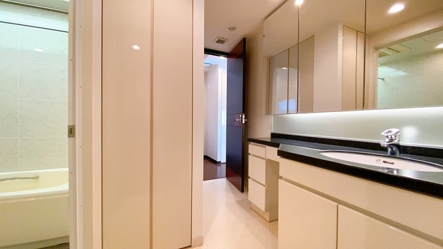 バスルームを含む洗面スペースは広々設計。収納棚が設置されておりタオルや洗剤などの収納に便利です。洗濯スペースは扉付きになっています。