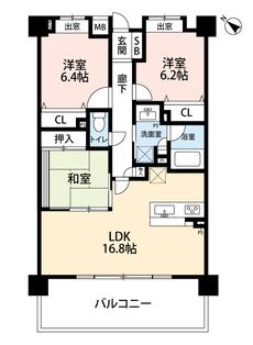 3LDKと各部屋収納付きでゆとりのある暮らしが実現。リビングは16帖以上、広いバルコニーに面した開放感あふれる空間です。