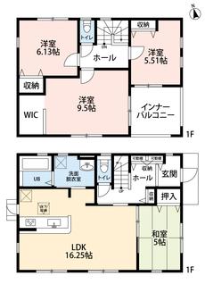 4LDKとウォークインクローゼットでゆとりのある暮らしが実現。リビングは隣にある和室を合わせると20.5帖以上の開放感あふれる空間です。2階は洋室が3部屋あるので、お子様が大きくなっても安心ですね。