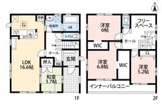 4LDKとウォークインクローゼットでゆとりのある暮らしが実現。リビングは隣の和室を合わせると20帖以上の開放感あふれる空間です。2階は洋室が3部屋もあるので、お子様が大きくなっても安心ですね。
