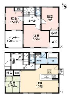 LDKと和室を合わせると18.75帖の大空間となります。4LDKとウォークインクローゼットでゆとりのある暮らしが実現。2階は洋室が3部屋あるので、お子様が大きくなっても安心ですね。
