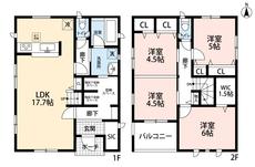 4LDKとウォークインクローゼットでゆとりのある暮らしが実現。玄関周辺には豊富な収納スペースがあり、2階は洋室が4部屋あるので、お子様が大きくなっても安心ですね。