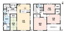4LDKとウォークインクローゼットでゆとりのある暮らしが実現。リビングは隣接の和室を合わせると20帖の開放感あふれる空間です。2階は洋室が3部屋あるので、お子様が大きくなっても安心ですね。