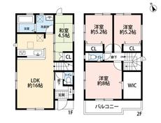 3LDKと納戸とウォークインクローゼットでゆとりのある暮らしが実現。2階は洋室が3部屋あるので、お子様が大きくなっても安心ですね。