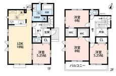 4LDKとウォークインクローゼットでゆとりのある暮らしが実現。リビングは18帖の開放感あふれる空間です。2階は洋室が3部屋あるので、お子様が大きくなっても安心ですね^^
