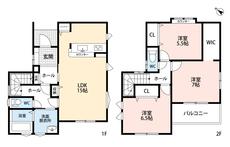 LDKと和室を合わせると20帖の大空間となります。好評発売中のリビング階段、2階には広い納戸もあり、書斎や在宅ワークのスペースにするのも良いですね。