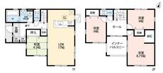 4LDKとウォークインクローゼットでゆとりのある暮らしが実現。リビングは隣にある和室を合わせると21.5帖以上の開放感あふれる空間です。2階は洋室が3部屋あるので、お子様が大きくなっても安心ですね。
