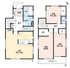 3LDKと階段下収納、ウォークインクローゼットでゆとりのある暮らしが実現。2階は洋室が3部屋あるので、お子様が大きくなっても安心ですね。