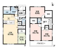 4LDKと大容量のウォークインクローゼットでゆとりのある暮らしが実現。LDKとタタミコーナーを合わせると19帖の大空間となります。2階は洋室が3部屋あるので、お子様が大きくなっても安心ですね。