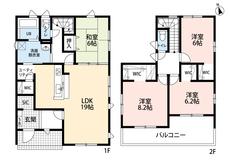 LDKと和室を合わせると25帖の大空間となります。ウォークインクローゼット付きの洋室が3部屋ある2階にも注目です。