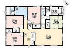 LDKと和室を合わせると24.5帖の大空間となります。お気軽にお問い合わせください。
