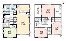LDKと和室を合わせると24.1帖の大空間となります。好評発売中のリビング階段、2階にも注目です。