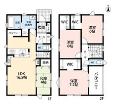 LDKと和室を合わせると20.5帖の大空間となります。キッチンにはパントリー付き。好評発売中のリビング階段とウォークインクローゼットがあり収納豊富です。