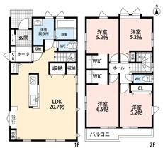 LDKは広々20帖以上、アイランドキッチン、2階には独立した洋室が4部屋ありオールフローリング希望の方にお勧めです。