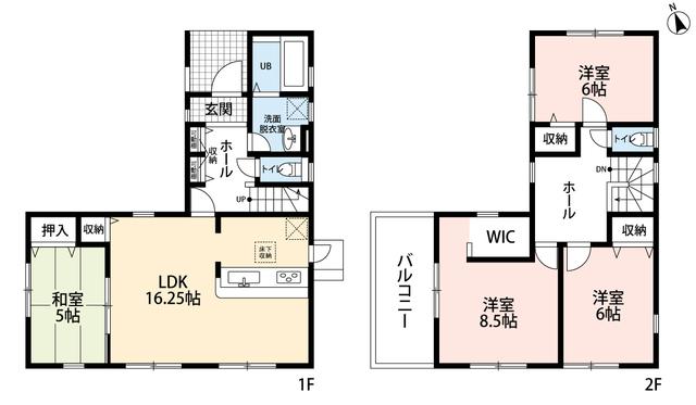 4LDKとウォークインクローゼットでゆとりのある暮らしが実現。リビングは隣にある和室を合わせると21帖以上の開放感あふれる空間です。2階は洋室が3部屋あるので、お子様が大きくなっても安心ですね。