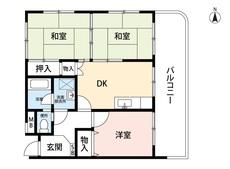 3DK、ダイニング部分にも収納有。角部屋に広々ワイドバルコニー付きです。