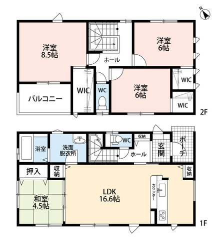 LDKと和室を合わせると21帖の大空間となります。2階の洋室には全部屋ウォークインクローゼット付きです。