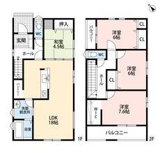 パントリーやカウンターキッチン、スタディカウンターをはじめとしたとても使いやすい間取り。広いウォークインクローゼット付きのお部屋がある2階にも注目です。