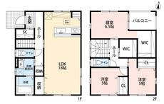 3LDKとウォークインクローゼット、ファミリークローゼットでゆとりのある暮らしが実現。リビングは18帖の開放感あふれる空間です。2階は洋室が3部屋あるので、お子様が大きくなっても安心ですね^^