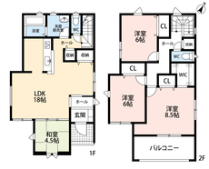 LDKと和室を合わせると22帖の大空間となります。好評発売中のリビング階段、2階にはホールから直接行き来できるバルコニーがあります。
