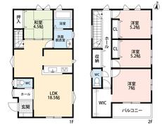LDKと和室を合わせると23帖の大空間となります。急な来客時には客間としても使えますよ。