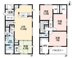 LDKと和室を合わせると20.1帖の大空間となります。急な来客時には客間としても使えますよ。