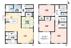 4LDKとウォークインクローゼットでゆとりのある暮らしが実現。2階は洋室が3部屋あるので、お子様が大きくなっても安心ですね。