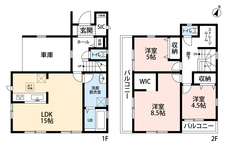 3LDKとウォークインクローゼット、ストレージルームでゆとりのある暮らしが実現。2階は洋室が3部屋あるので、お子様が大きくなっても安心ですね。一階には車庫付きなので雨に濡れる心配が減りますね。