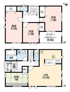 4LDKと各部屋収納付きでゆとりのある暮らしが実現。リビングは隣接の和室を合わせると21帖以上の開放感あふれる空間です。2階は洋室が3部屋あるので、お子様が大きくなっても安心ですね。