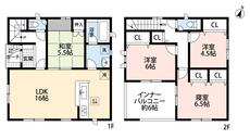 4LDKと広いインナーバルコニーでゆとりのある暮らしが実現。リビングは隣接の和室を合わせると21.5帖以上の開放感あふれる空間です。2階は洋室が3部屋あるので、お子様が大きくなっても安心ですね。