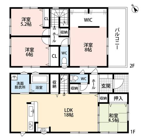 家族の会話が増えるリビング階段。LDKと和室を合わせると22.5帖の大空間となります。2階には広々ウォークインクローゼット付きのお部屋もあります。