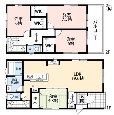 LDKは19.6帖。LDKと和室を合わせると23.9帖の大空間となります。2階は全てウォークインクローゼット付きの洋室です。