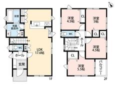 キッチンには便利なパントリーが2か所。お料理好きの方にお勧めです^^洋室が4部屋ある2階にも注目です。