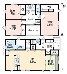 LDKと和室を合わせると20.5帖の大空間となります。ウォークインクローゼットと広いバルコニー付きの2階にも注目です。