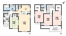 4LDKとウォークインクローゼットでゆとりのある暮らしが実現。リビングは隣にある和室を合わせると24帖の開放感あふれる空間です。2階は洋室が3部屋あるので、お子様が大きくなっても安心ですね。
