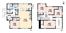 5LDKとウォークインクローゼットでゆとりのある暮らしが実現。2階は洋室が4部屋あるので、お子様が大きくなっても安心ですね。