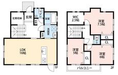 3LDKと各部屋収納付きでゆとりのある暮らしが実現。リビングは16帖、玄関収納、洗面室収納、2階は洋室が3部屋、ウォークインクローゼット付きのお部屋もlあるので、お子様が大きくなっても安心ですね^^
