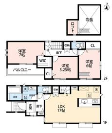 3LDKとウォークインクローゼット、ロフト付きでゆとりのある暮らしが実現。リビングは17帖以上の開放感あふれる空間です。2階は洋室が3部屋あるので、お子様が大きくなっても安心ですね^^