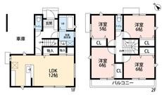 4LDKと各部屋収納でゆとりのある暮らしが実現。リビングは16帖の開放感あふれる空間です。2階は洋室が4部屋あるので、お子様が大きくなっても安心ですね^^