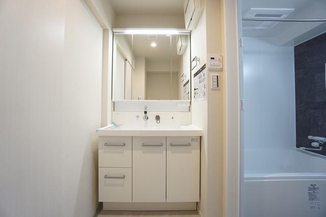 三面鏡つき洗面台。収納も一体型になっているので、ドライヤーやヘアアイロンの置き場に困りません。